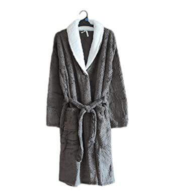 ZXCB Mens and Ladies Soft Warm Pyjama Coral Cashmere Gray Bathrobes Hotel  Shower Robe Fashion Lightweight Couple Bath Robe 6a552ca89