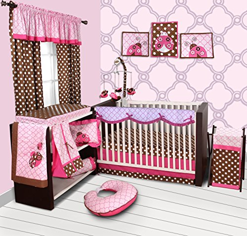 Bacati Lady Bugs 10-Piece Nursery-In-A-Bag Crib Bedding Set with Long Rail Guard For Girls, (Ladybug Hamper Set)