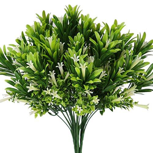Artificial Lily Flowers Outdoor Plastic Calla White Plants Fake Shrubs Faux Bushes Home Arrangement Kitchen Garden Planter Indoor Cream Decor 4PCS