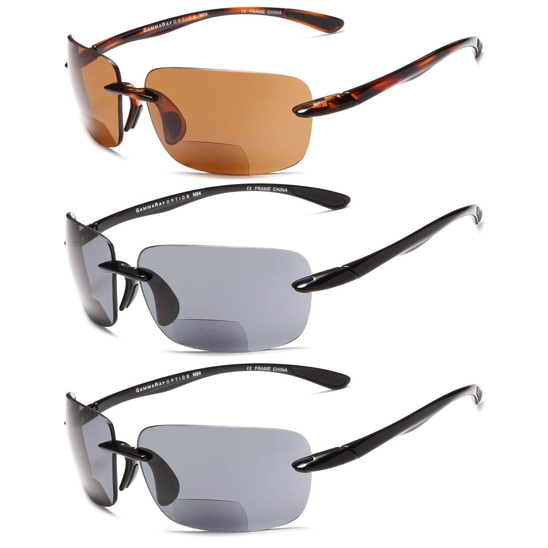 10ed18d2770 Amazon.com  GAMMA RAY 3 Pairs Bifocal Sports Sunglasses Readers Reading  Glasses - 1.00x  Clothing