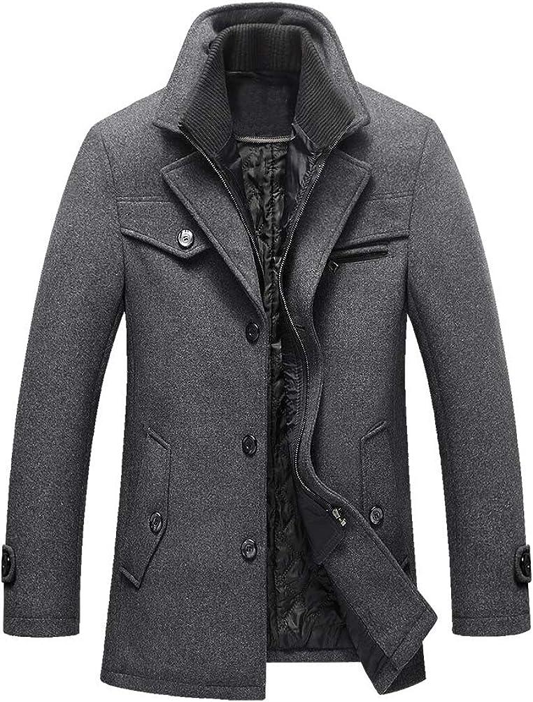 Litteking Men's Winter Pea Coat Single Trench Ranking TOP7 Woolen Ranking TOP15 Casual