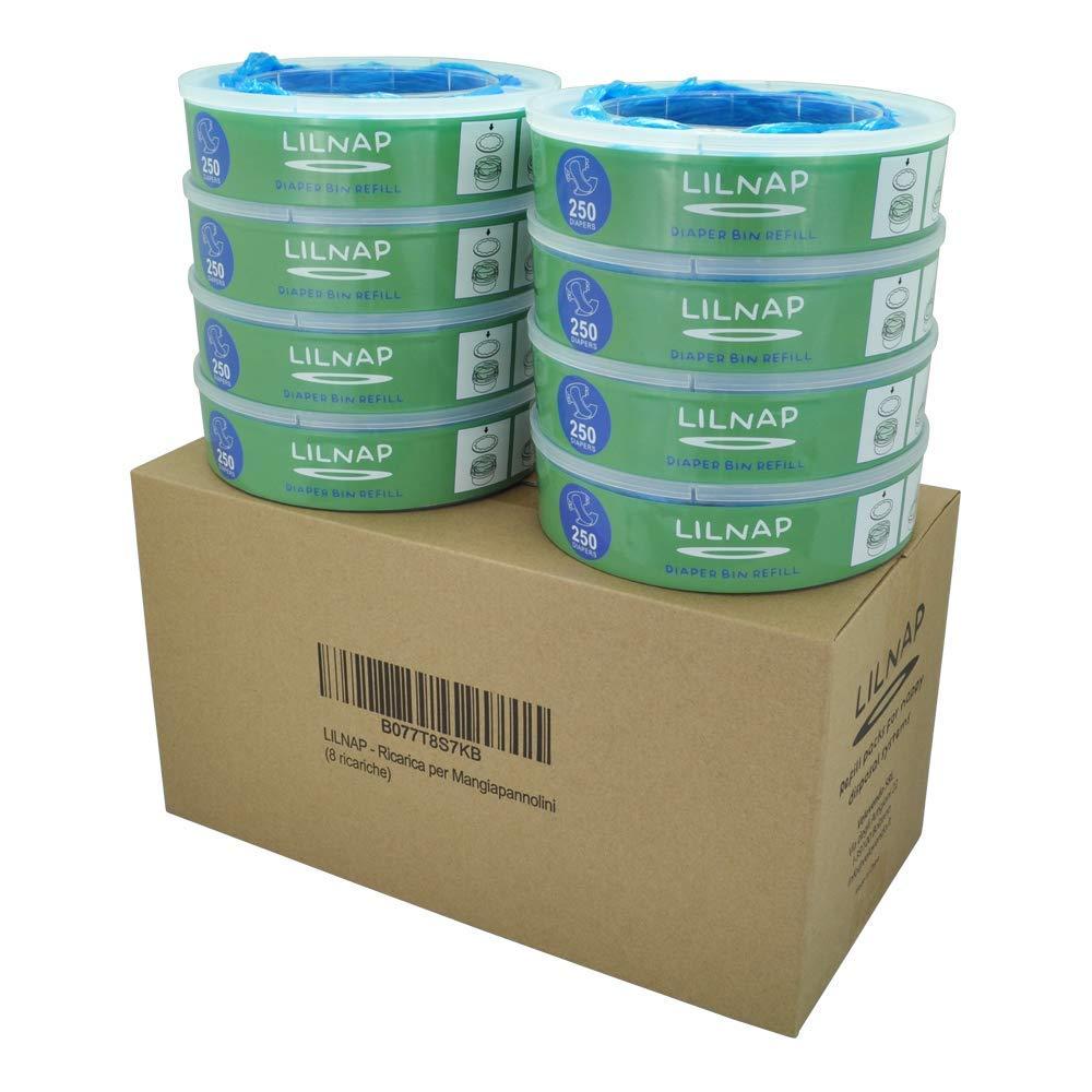 LILNAP - Recharges pour Poubelle à Couches Angelcare   film Antibactérien Multicouche avec Traitement EVOH Anti-odeurs (4 recharges)