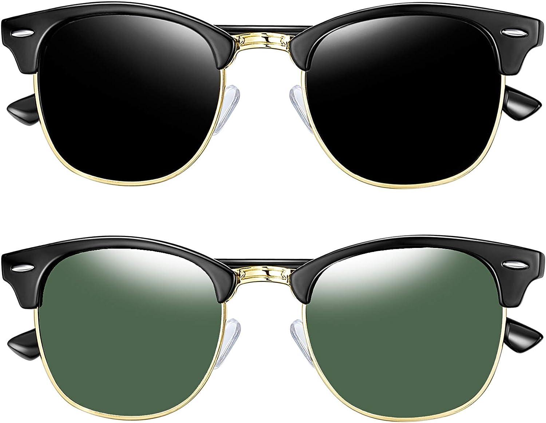 Joopin Gafas de sol Polarizadas Hombre y Mujer Retro Clásico Medio Marco Gafas de sol Unisex Adulto Protección UV400