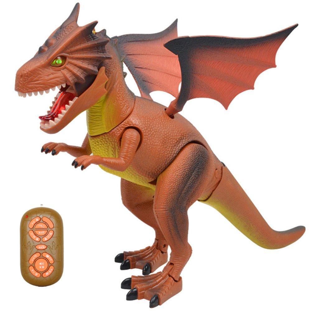 KYOKIM Infrarot-Fernbedienung Dinosaurier-Simulator Elektrisches Modell Spielzeug Kann Gehen und Erscheinen Schreien Sound Feuerdrachen,Orange