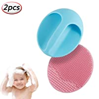 Cradle Cap Bath Brush and Comb Baby Shower Brushes Set,Facial Cleansing Brush for Blackhead Remover,Silicone Scalp Massaging Brush (2pcs)