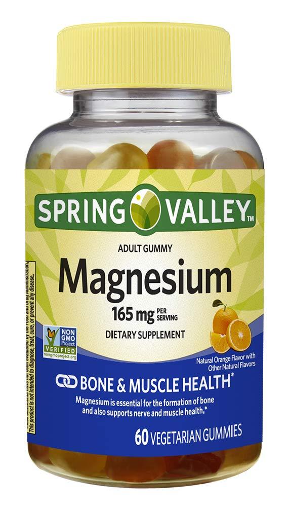 Spring Valley Adult Gummy Magnesium 165 mg, Orange, Bone & Muscle, 60 Gummies