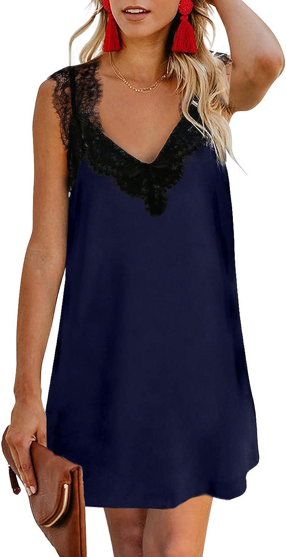Bdcoco Womens Casual Lace Spaghetti Strap V Neck Sleeveless Mini Short Dress