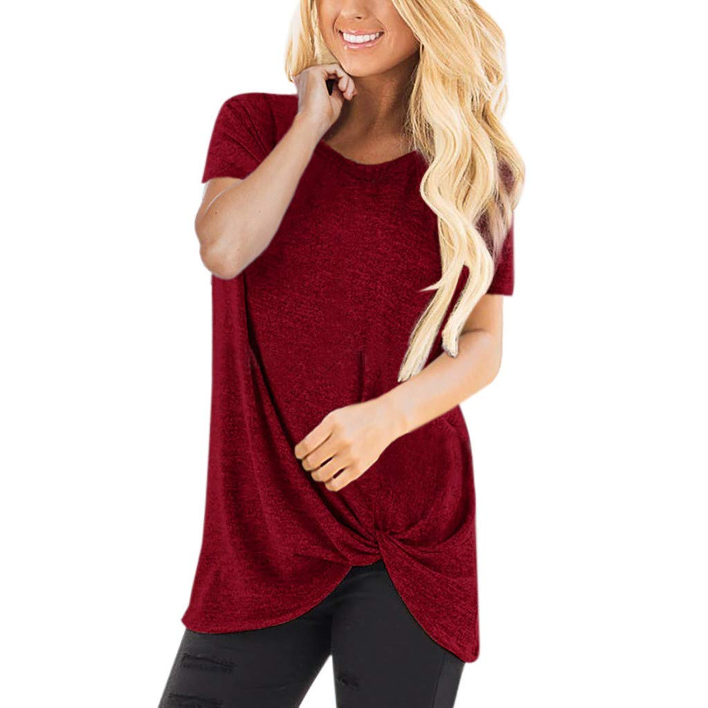 TWGONE Long Tunic Tops for Women to Wear with Leggings Short Sleeve O Neck Blouse Twist Knotted T- Shirt(X-Large,WineRed)
