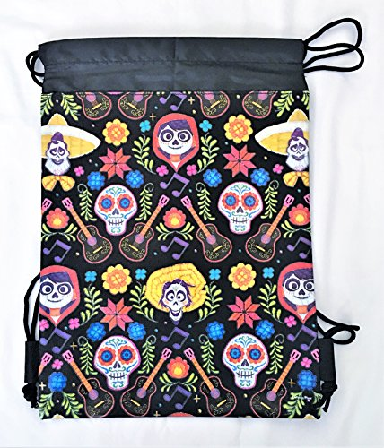 Skull Drawstring Backpack (Disney COCO Drawstring Backpack PIXAR Licensed Sling Tote Gym Bag Remember Me (Black Skull Bone))