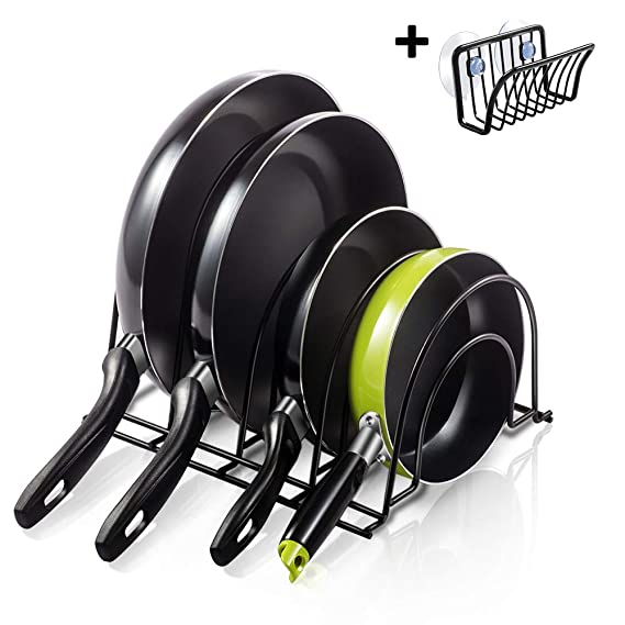 Masthome - Soporte para sartenes de 5 niveles, organizador de ollas de hierro, soporte de almacenamiento para utensilios de cocina con estante adicional ...