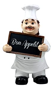 "Ebros Bon Appetit French Bistro Chef Pierre Holding Sign Statue Kitchen Welcome Decor Figurine 12"" H"