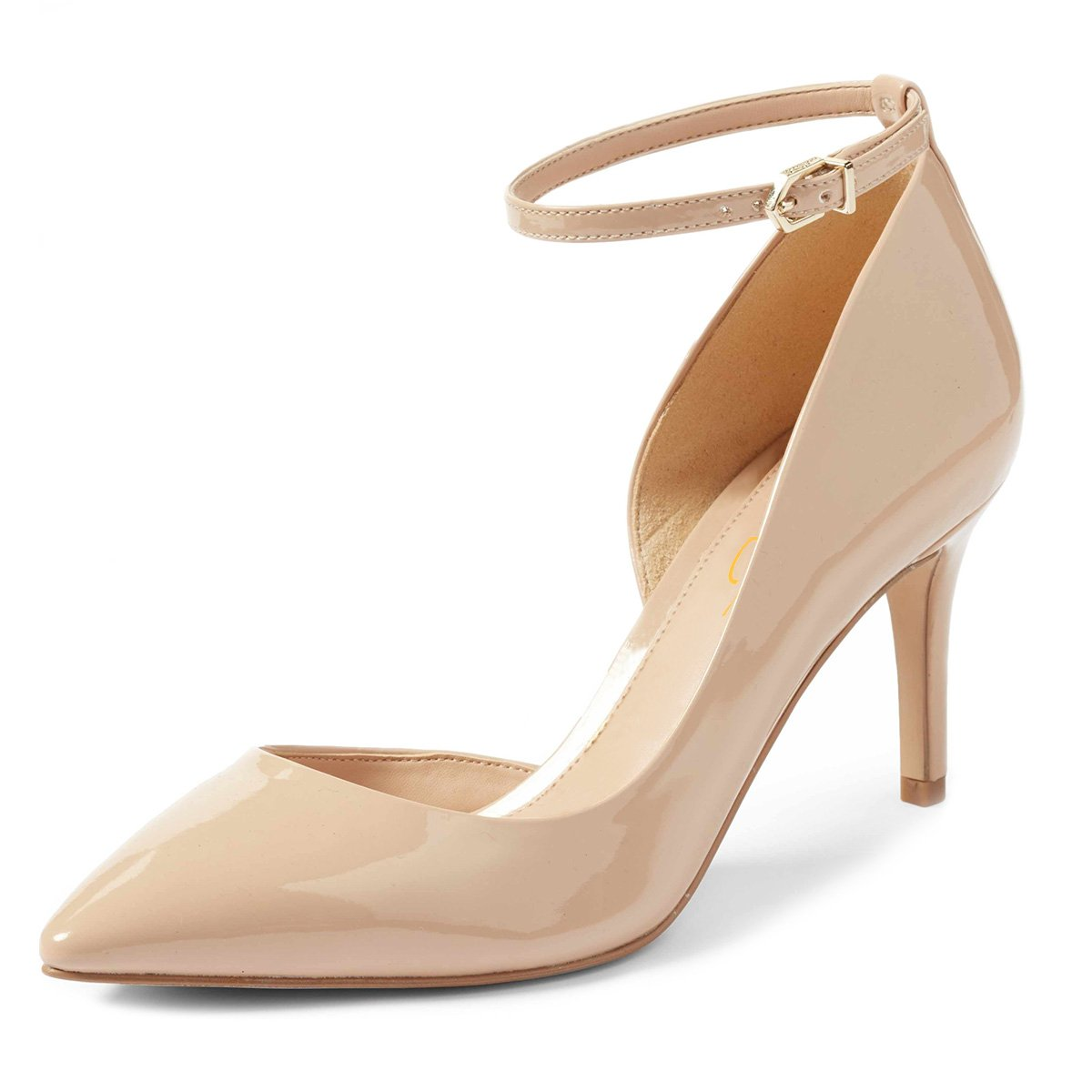 XYD Women Pointed Toe D'Orsay Mid Heel Pumps Ankle Strap Buckled Wedding Party Dress Shoes B078XPXLSD 7 B(M) US|Nude