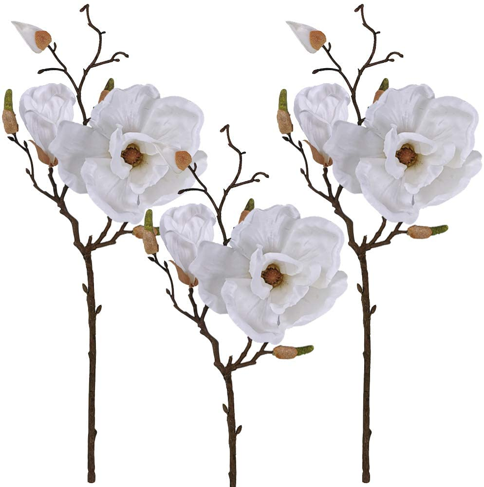 Winlyn 3 Pcs Silk Magnolia Flowers with Buds Branch Artificial Magnolia Blooms Wedding Flowers Bouquets Floral Stems in White 19