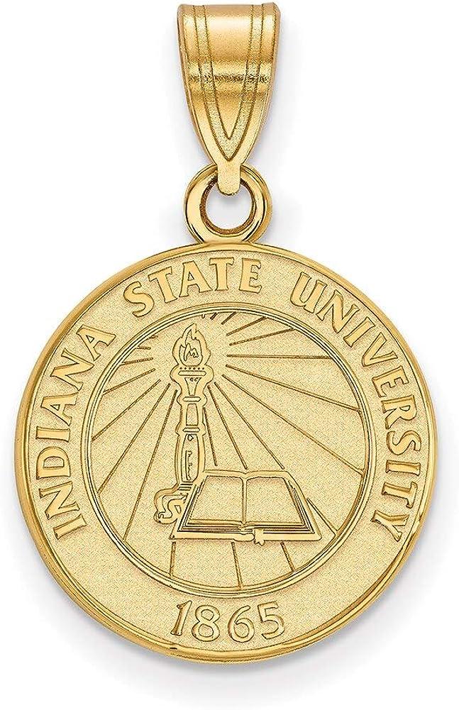 Lex /& Lu LogoArt Sterling Silver w//GP Indiana State University Medium Crest Pendant