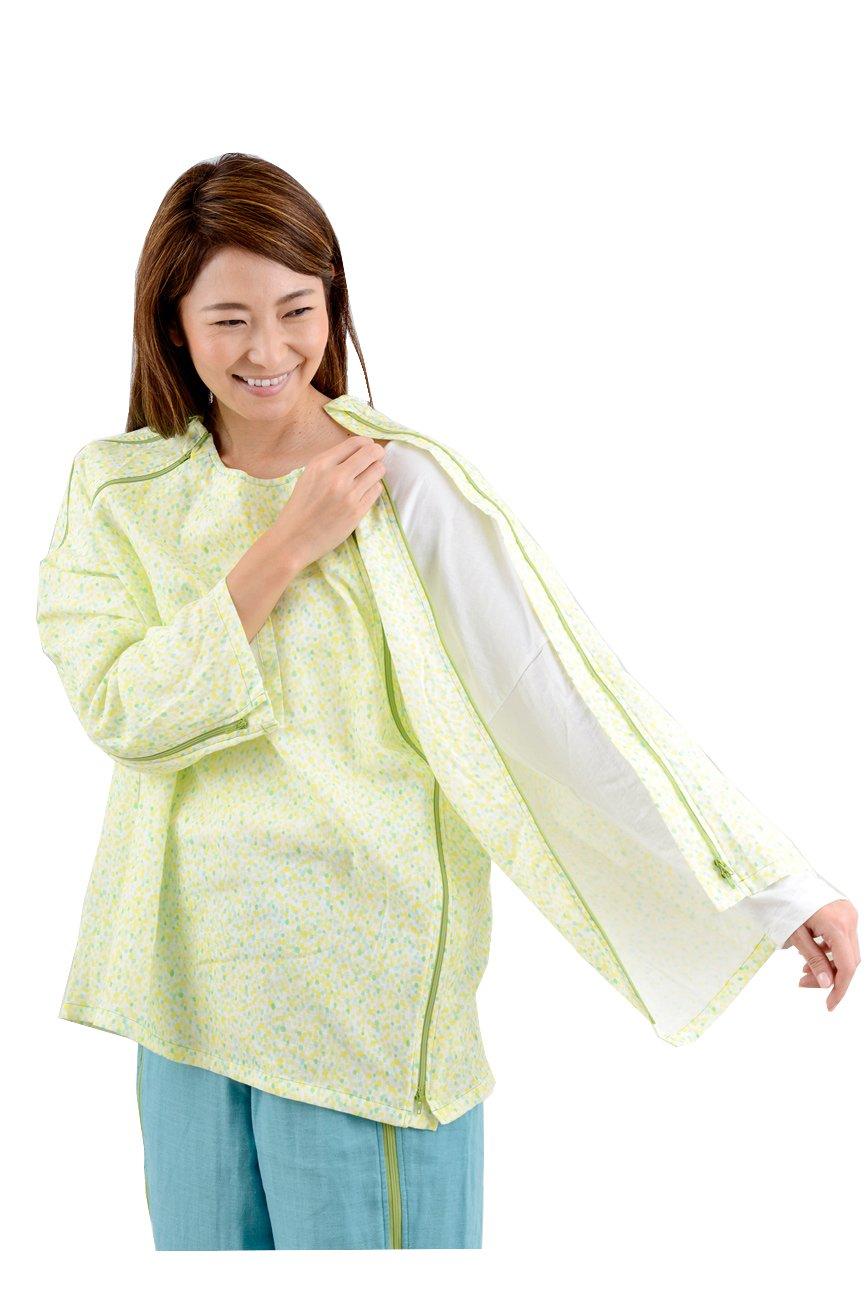 【長袖上同色2枚セット】入院介護に前開きWジップパジャマ 『点滴したまま着がえるパジャマ』 B072PS9KK5 L|ドットイエロー×2枚 ドットイエロー×2枚 L