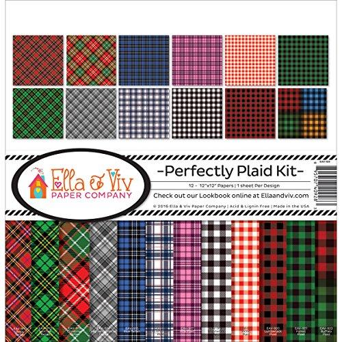 Ella & Viv by Reminisce EAV-928 Ella & Viv Perfectly Plaid Scrapbook Collection Kit Ella & Viv Perfectly Plaid Scrapbook Kit