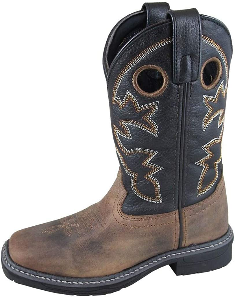 Smoky+Children/%27s+Kid/%27s+Stampede+Brown+and+Black+Leather+Western+Cowboy+Boot