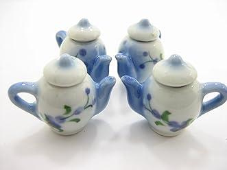 Set 4 Coffee Pot Teapot Blue Paint Dollhouse Miniature Ceramic Supply 12935