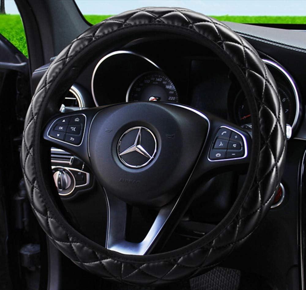 ZHOL Universal 15 inch Steering Wheel Cover Elastic Microfiber Leather Elegant Design Black Color