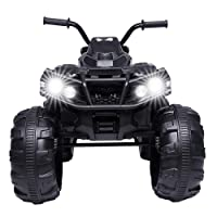 Henf Ride on ATV,12V Kids Electric 4-Wheeler ATV Quad Ride On Car Toy,Powered Kids Electric Vehicle with Lights, Sounds & MP3 Player, , Treaded Tires, LED Headlights for Boys& Girls(Black)