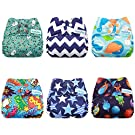 Mama Koala Washable Reusable One Size Baby Pocket Cloth Diapers, 6 pcs + 6 Inserts, Roar
