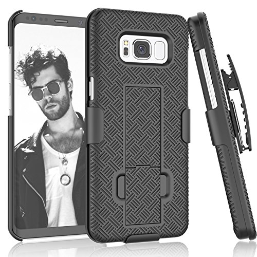 Galaxy S8 Case,Samsung S8 Holster Belt, Tekcoo [Tstraw] Hard Shell [Built-in Kickstand] Locking Belt Swivel Clip Defender Full Body Ultra Slim Cases Cover for Samsung Galaxy S8 (5.8 Inch) [Black]