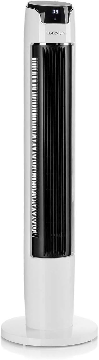 KLARSTEIN Empire State White Edition - Ventilador Vertical, 45 Vatios, 3 Modos de ventilación, 45° de oscilación, 6 Niveles, 110 cm de Alto, Temporizador, Diplay LED, Control Remoto, Blanco