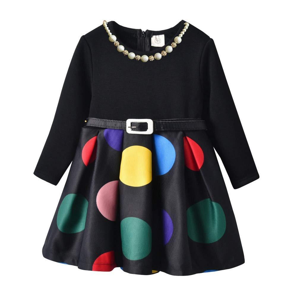 Sameno Girl Autumn Plus Velvet Wave Stitching Childrens Long Sleeve Dress