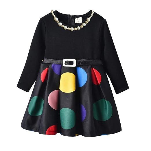 e9f44a218 Amazon.com: Dirance Girls Cute dot Long Sleeve Belt Children Plus ...