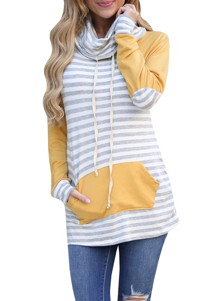 Blanycool Womens Cowl Neck Striped Raglan Hoodies Stitching Long Sleeve Pocket Pullover Sweatshirt