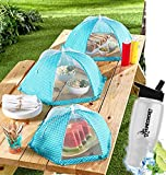 Gift Included- Kitchen Garden Mesh Food Covers For Picnics & Outdoor Parties Set of 3 Tents  Blue and White + FREE Bonus Water Bottle by Home Cricket Homecricket