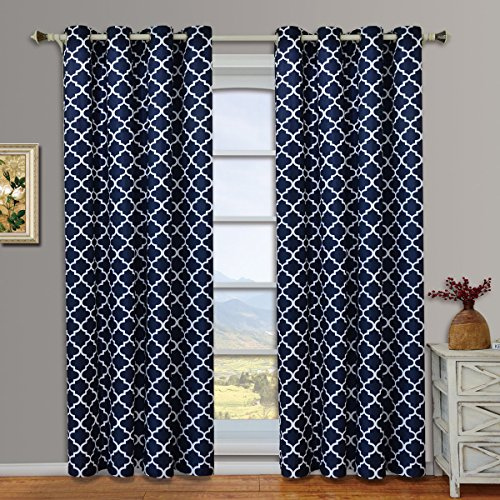 Pair of Two Top Grommet Meridian Blackout Thermal Insulated Curtain Panels, Triple-Pass Foam Back Layer, Navy, Set of Two 52″ by 63″ Panels (104″ by 63″ Pair)