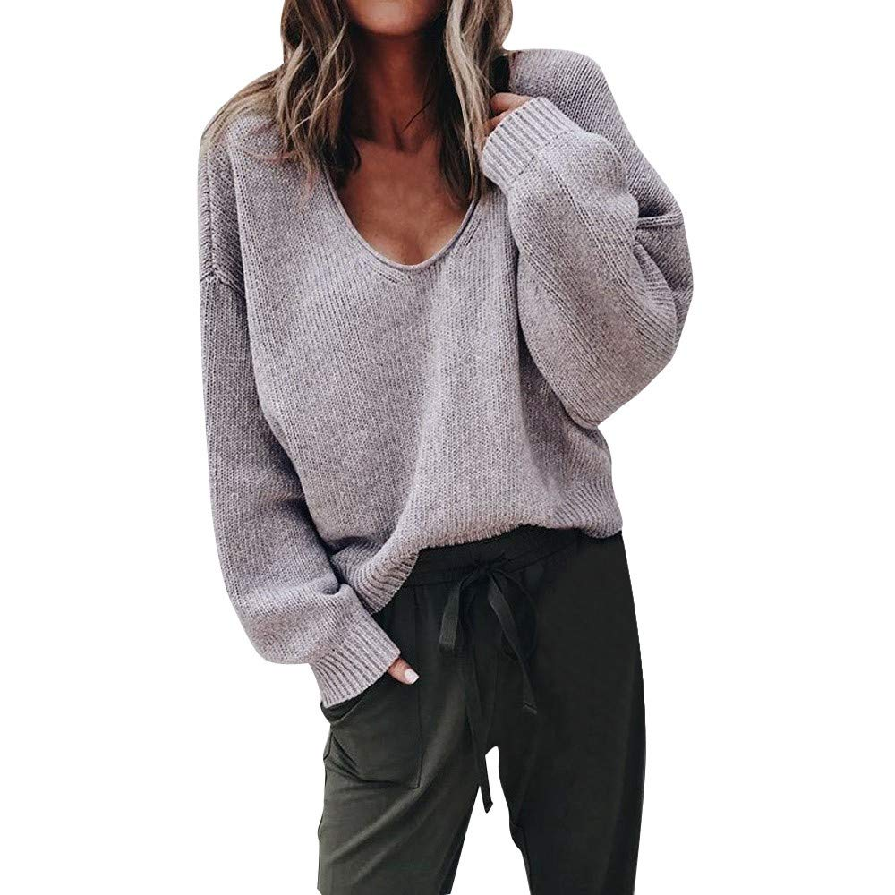 Hemlock Women Plus Size V-Neck Sweater Coat Tops Loose Deep V Pullover Sweater Blouse Henley Shirts Sweatshirt Tops