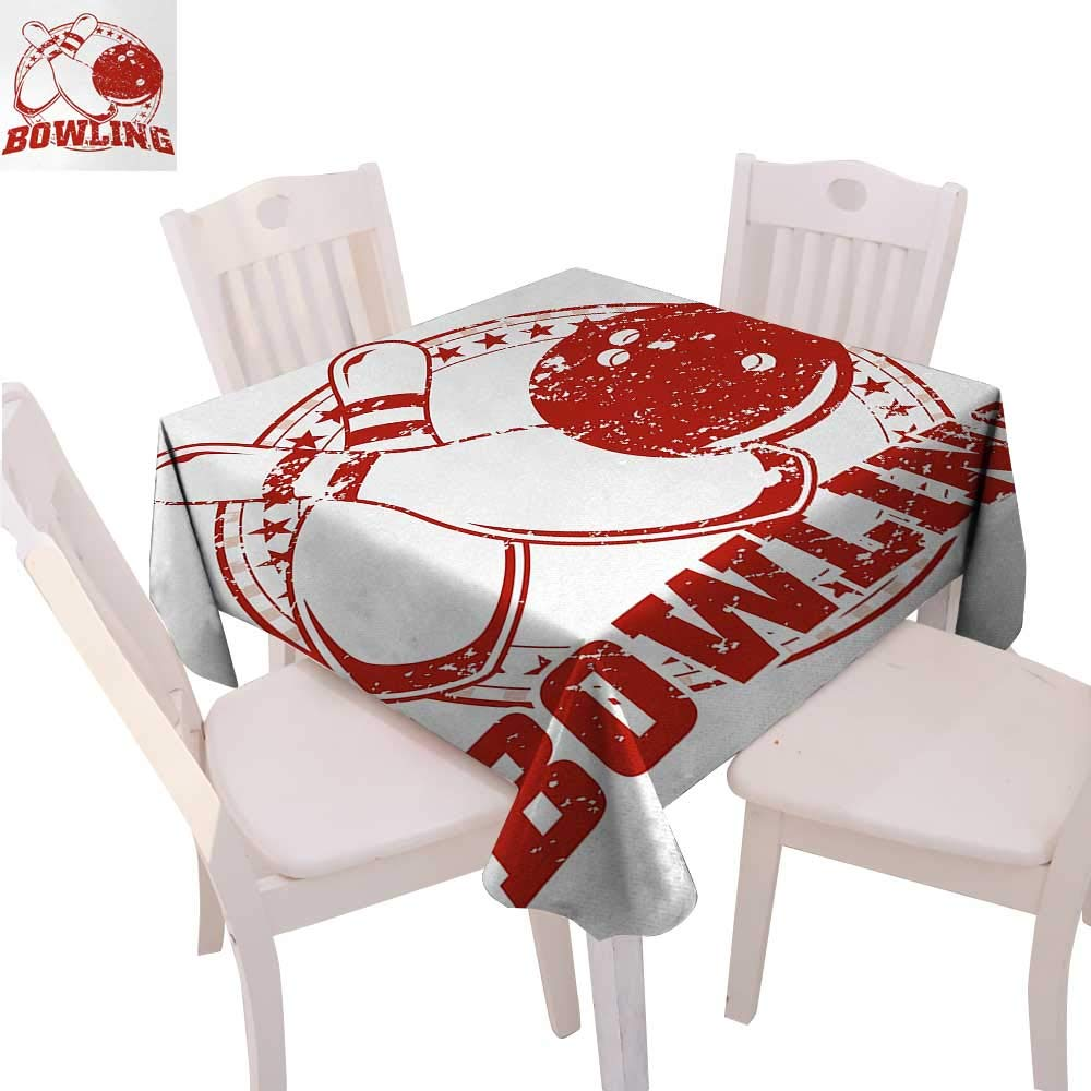 """cobeDecor Bowling Party Dinning Tabletop DecorGrunge Circle of Stars with Vintage Distressed Emblem Design Typography Table Cover for Kitchen 50""""x50"""" Red and White"""
