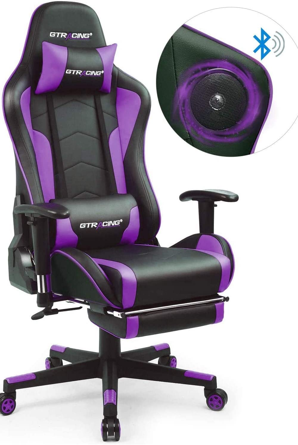 GTRACING Music Gaming Chair with Footrest and Bluetooth Speakers Video Game Chair Heavy Duty Computer Office Desk Chair GT890MF Red (Purple)