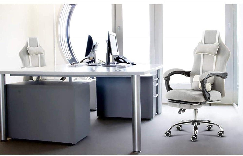 THBEIBEI Swivel kontorsstol spelstol datorstol vilande chef stol hög rygg avtagbar dubbel kudde nät ryggstöd bärande vikt 200 kg (färg: grå) Grått