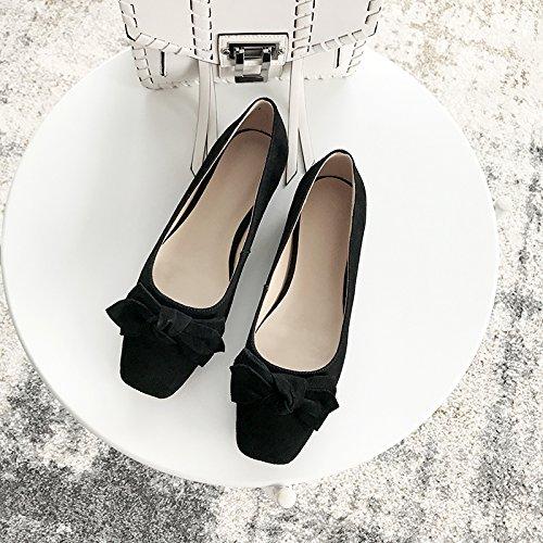 Angrousobiu Frühling und Sommer weibliche weibliche weibliche Schuh Leder Bow Tie Parteichef niedrig mit eleganten Hellen-Arts Flache Schuhe 5c6a77