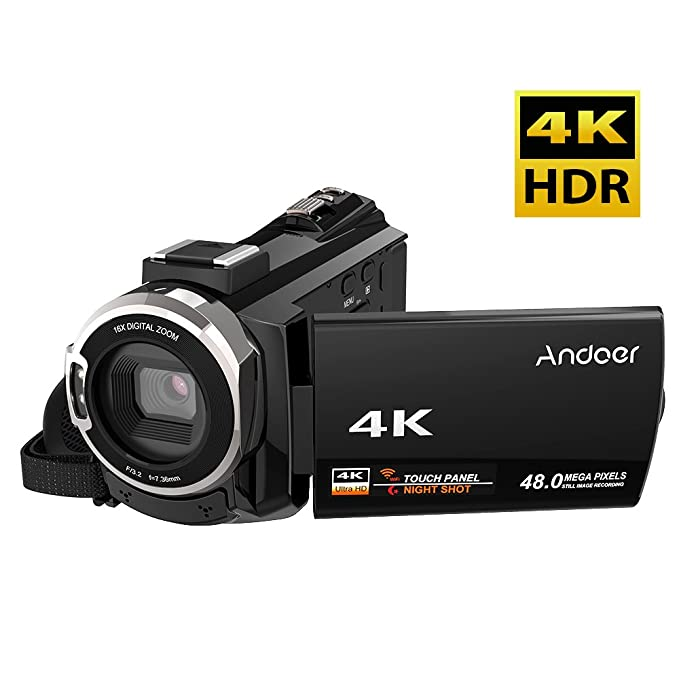 4 opinioni per Andoer 4K 1080P 48MP WiFi Videocamera digitale con chip Novatek 96660 Capacitivo