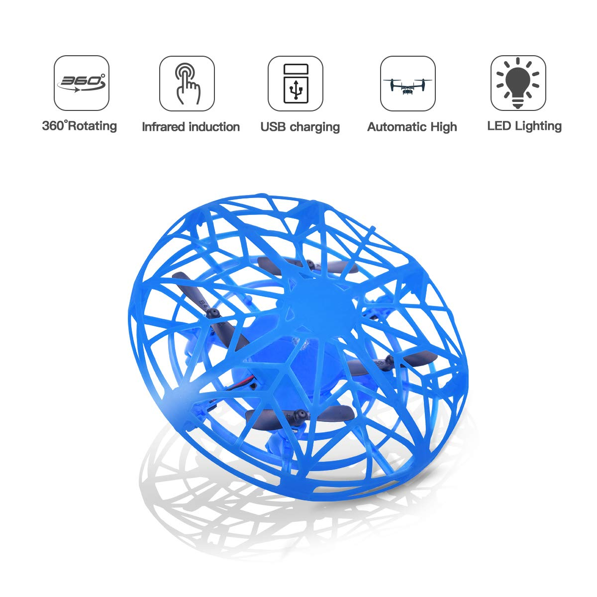 LEEHUR Mini Drones Flying Ball Toy for Kids UFO Quadcopter RC Helicopter Hand Controlled Obstacle Avoidance 360 Rotation Interactive Infrared Induction Flashing LED Lights by LEEHUR (Image #1)