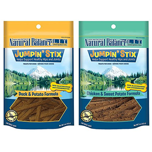 Natural Balance L.I.T. Limited Ingredient Treats Jumpin' Stix Dog Treats Variety Pack - 5 Ounces - 2 Flavors - Duck & Potato and Chicken & Sweet Potato (2 Pack)