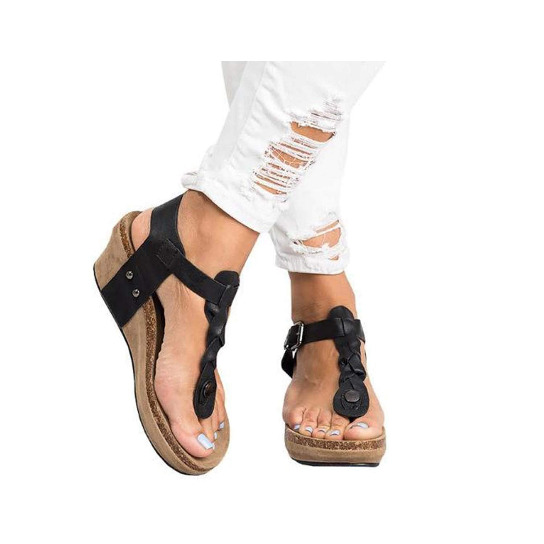 Black HuangKang 2019 Summer Women's Sandals Women's Wedges Platform shoes Summer Ladies shoes