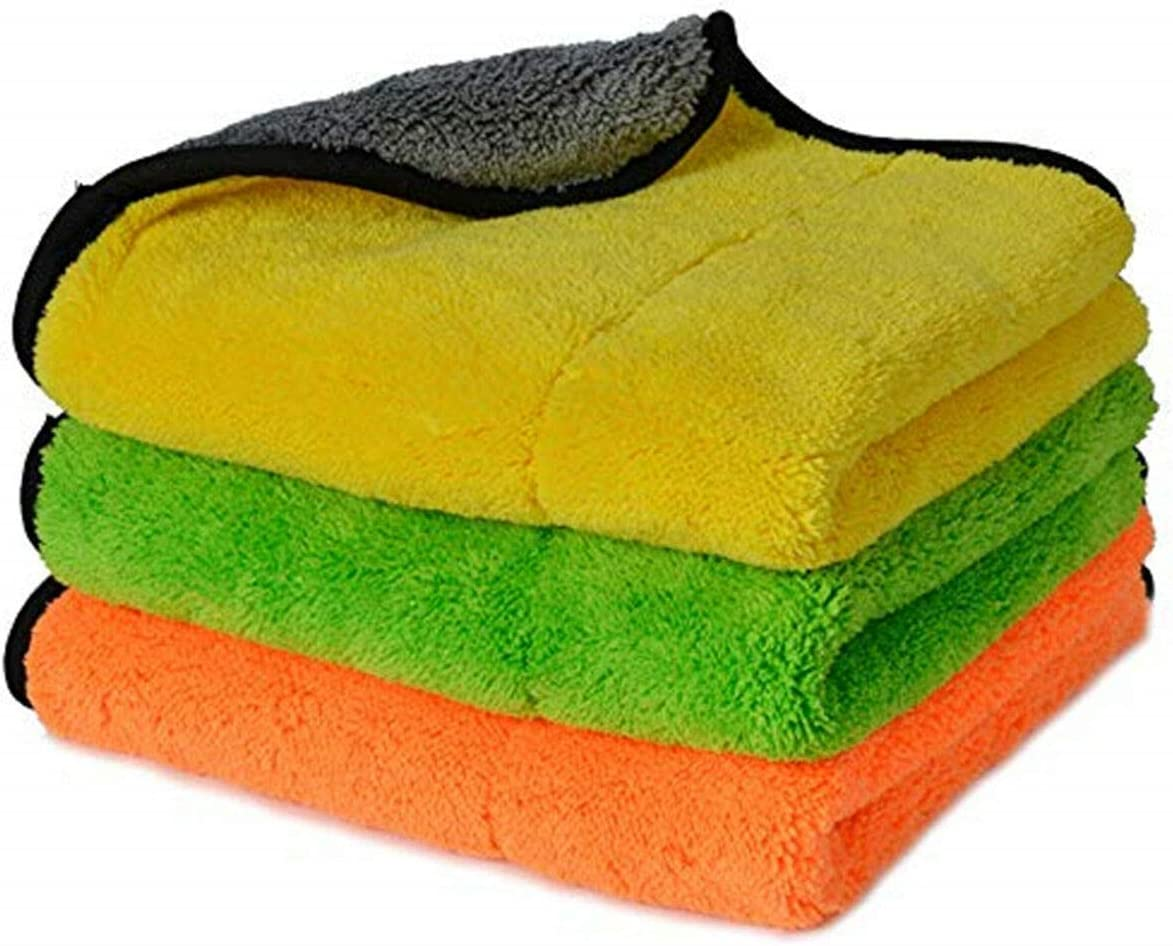 3 pcs 45x38cm Microfiber Towels Car Cleaning Cloth Fast Drying Super Absorbent Cloth Vehicle Drying Towel 800GSM Auto Care