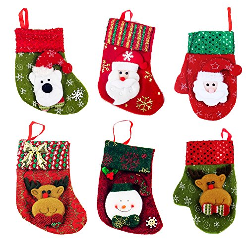 Zhihu Set of 6 Various Styles Stockings for Santa Christmas Santa's Stockings Gifts Baskets Candy Holiday Candy Gift Bag and Treat Bags On Christmas Xmas Party Decorations for Christmas Gifts(Small) (Xmas Basket)