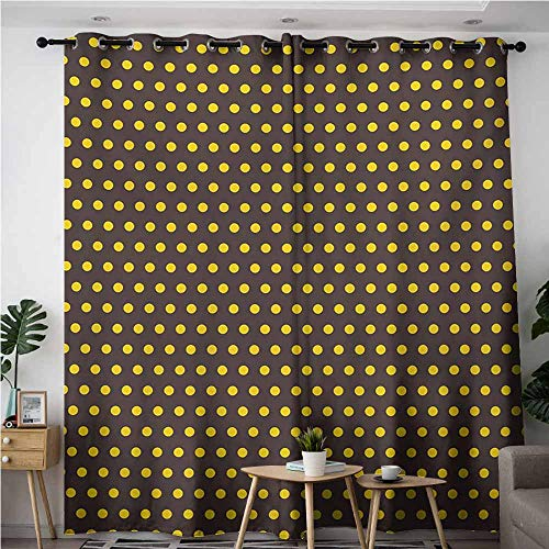 AndyTours Blackout Curtains,Vintage,Space Decorations,W108x108L,Dark Brown and Marigold