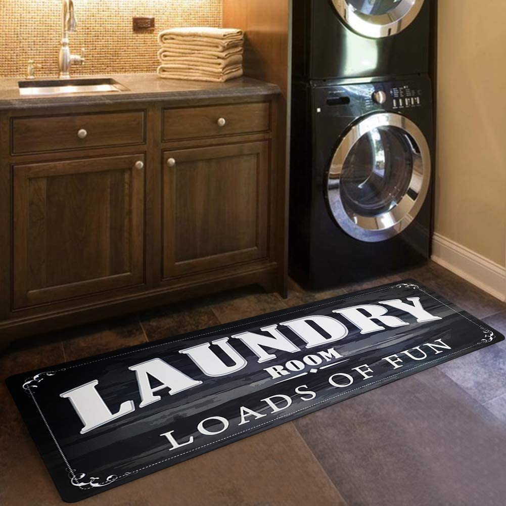 USTIDE Laundry Room Load of Fun Rug Floor Mat for Porch Washroom Mudroom Non Skid Rubber Waterproof Kitchen Mat, 20x48