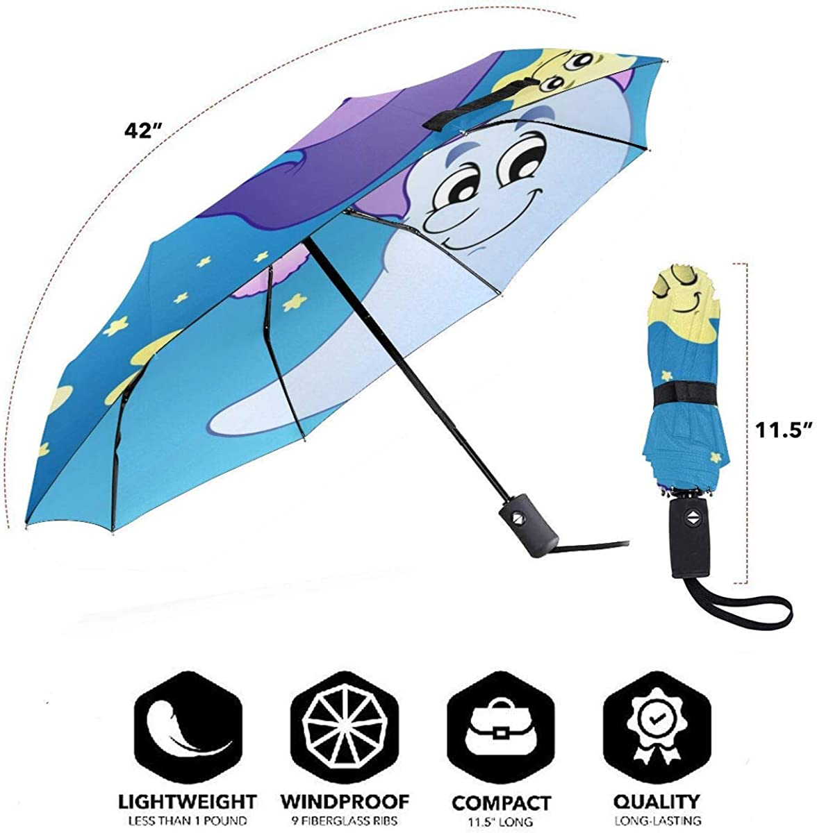 Sky With Cute Moon In Sleeping Hat Compact Travel Umbrella Windproof Reinforced Canopy 8 Ribs Umbrella Auto Open And Close Button Customized