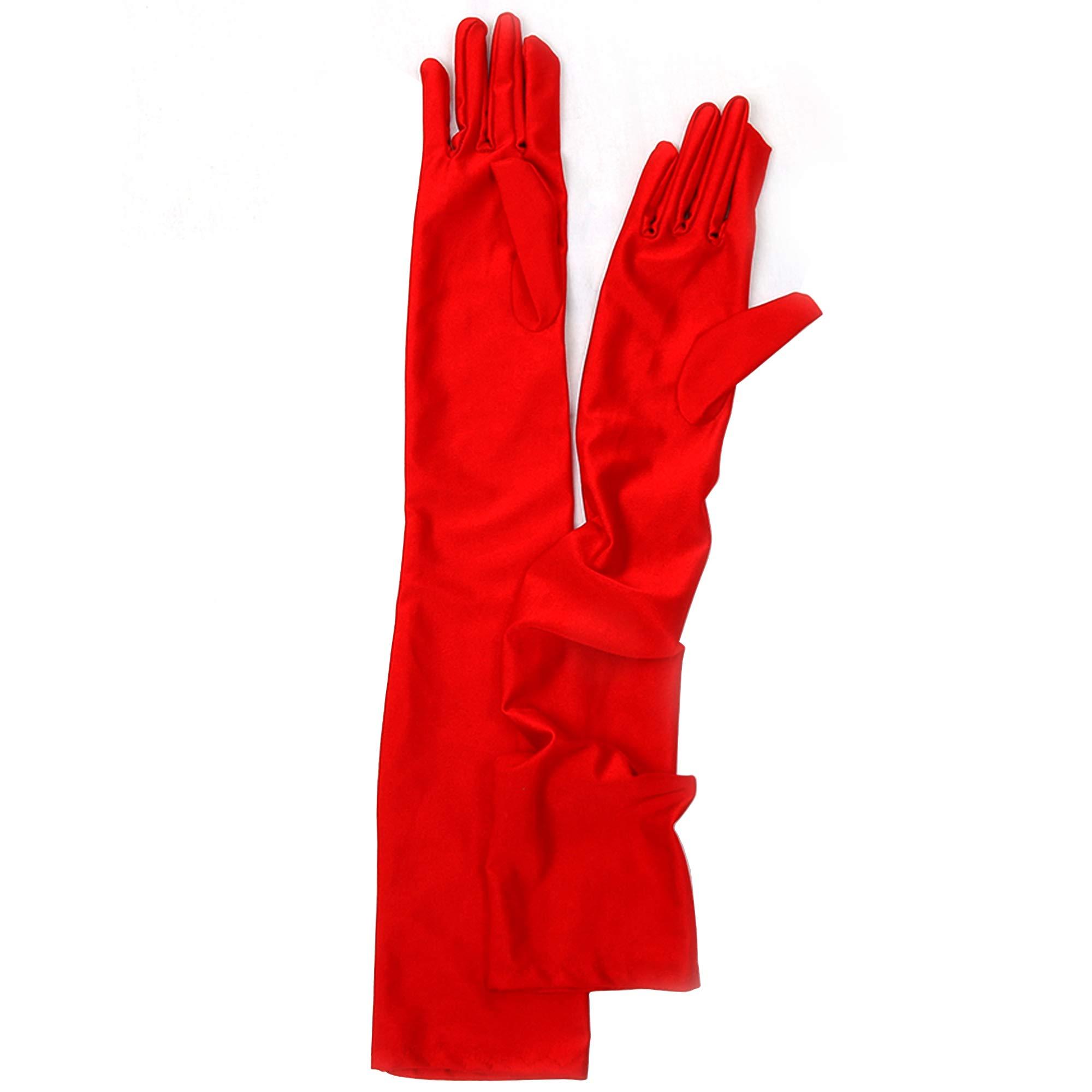 Skeleteen Red Satin Opera Gloves - Roaring 20's Fancy Flapper Elbow Gloves - 1 Pair by Skeleteen