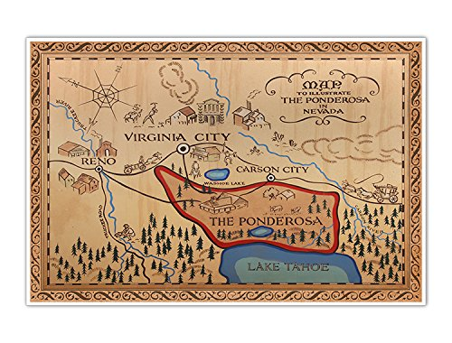 Bonanza Western Map of the Ponderosa Vintage Cowboy Large 24