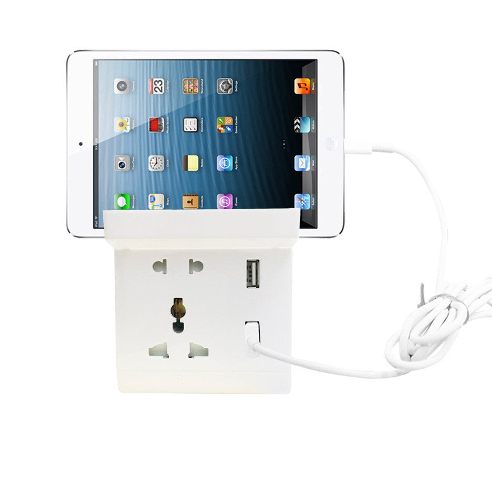 Dual USB Port Electric Wall Socket Charger Dock AC Power Receptacle Outlets Phones Cradle Gessppo(White)