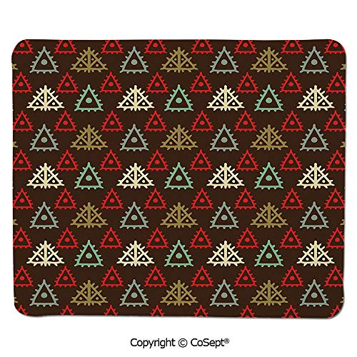 Mouse Pad,Native American Aztec Folk Triangle Pattern Folk Style Funky Boho Tribal Art Print,for Laptop,Computer & PC (11.81